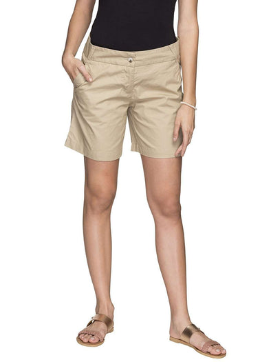 Cottonworld Women's Shorts WOMEN'S 100% COTTON KHAKI REGULAR FIT SHORTS