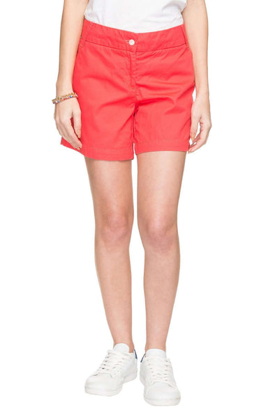 Cottonworld Women's Shorts WOMEN'S 100% COTTON RED REGULAR FIT SHORTS
