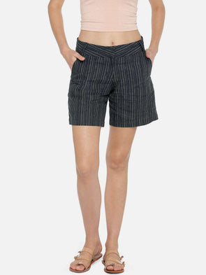Cottonworld Women's Shorts WOMEN'S 100% LINEN BLACK REGULAR FIT SHORTS