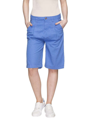 Cottonworld Women's Shorts WOMEN'S 55% LINEN 45% COTTON BLUE REGULAR FIT SHORTS