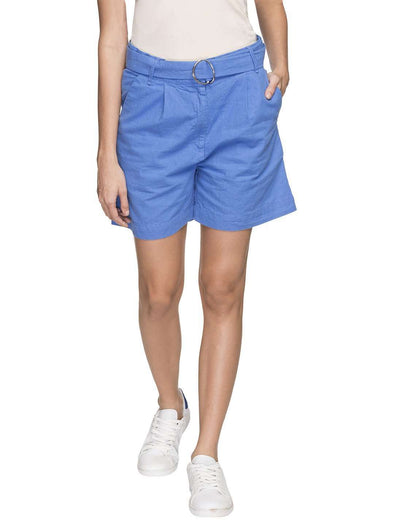 Women's 55% Linen 45% Cotton Blue Regular Fit Shorts Cottonworld Women's Shorts