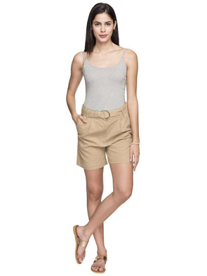 Cottonworld Women's Shorts WOMEN'S 55% LINEN 45% COTTON KHAKI REGULAR FIT SHORTS