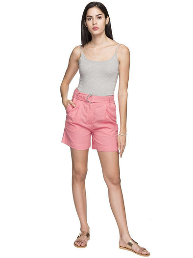 Cottonworld Women's Shorts WOMEN'S 55% LINEN 45% COTTON PINK REGULAR FIT SHORTS