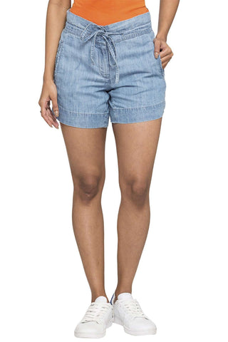 Cottonworld Women's Shorts WOMEN'S 60% COTTON 40% TENCEL DENIM BLUE REGULAR FIT SHORTS