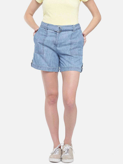 Cottonworld Women's Shorts WOMEN'S 60% COTTON 40% TENCEL DENIN SKY REGULAR FIT SHORTS