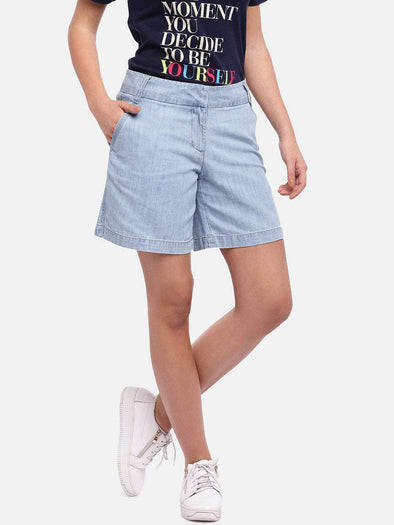 Women's Cotton Tencel Denin Sky Regular Fit Shorts Cottonworld Women's Shorts