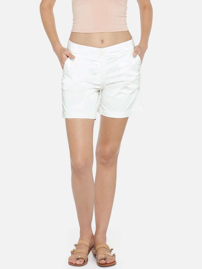 Women's Cotton Lycra White Regular Fit Shorts Cottonworld Women's Shorts