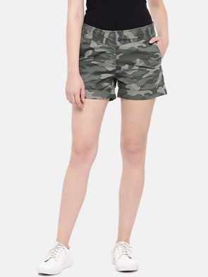 Cottonworld Women's Shorts Women's Cotton Green Regular Fit Shorts