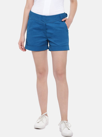 Cottonworld Women's Shorts Women's Cotton Lycra Blue Regular Fit Shorts
