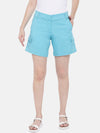 Women's Cotton Lycra Blue Regular Fit Shorts Cottonworld Women's Shorts