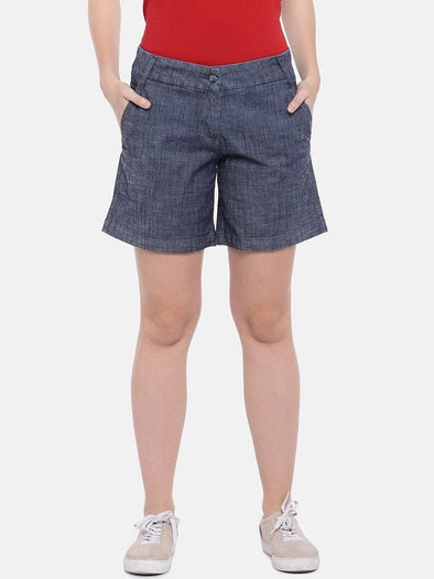Women's Cotton Lycra Denim Blue Regular Fit Shorts Cottonworld Women's Shorts
