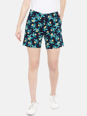 Cottonworld Women's Shorts Women's Cotton Lycra Navy Regular Fit Shorts
