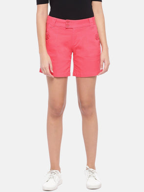 Women's Cotton Lycra Orange Regular Fit Shorts Cottonworld Women's Shorts