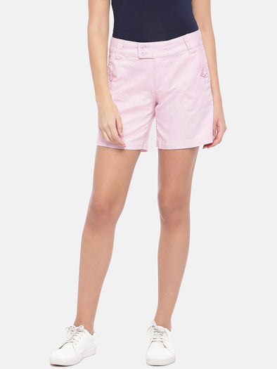 Cottonworld Women's Shorts Women's Cotton Lycra Pink Regular Fit Shorts