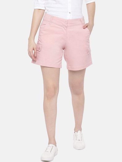 Women's Cotton Lycra Pink Regular Fit Shorts Cottonworld Women's Shorts