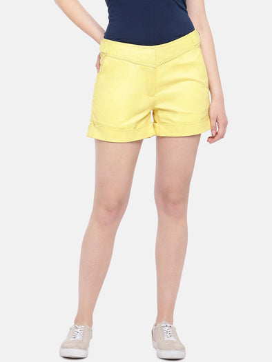 Cottonworld Women's Shorts Women's Cotton Lycra Yellow Regular Fit Shorts