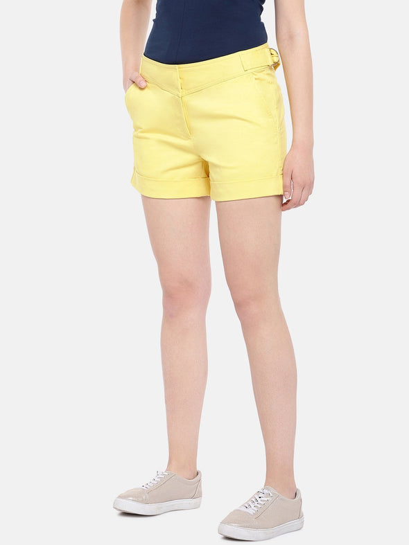 Women's Cotton Lycra Yellow Regular Fit Shorts Cottonworld Women's Shorts