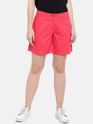 Cottonworld Women's Shorts Women's Cotton Red Regular Fit Shorts