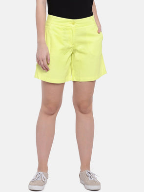 Cottonworld Women's Shorts Women's Cotton Yellow Regular Fit Shorts