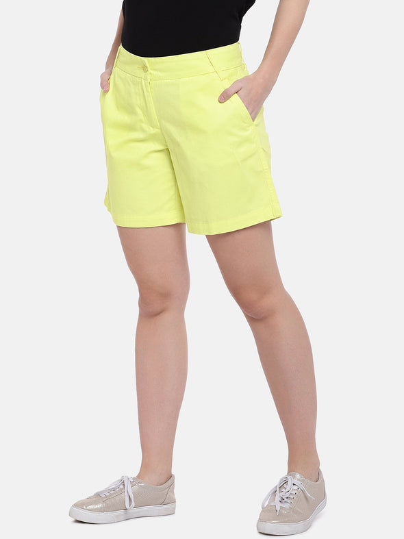 Women's Cotton Yellow Regular Fit Shorts Cottonworld Women's Shorts
