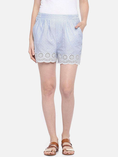 Women's Cotton Blue/White Regular Fit Shorts Cottonworld Women's Shorts