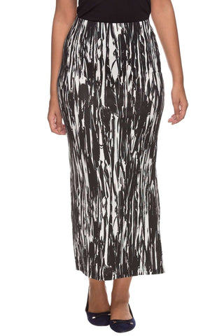 Cottonworld Women's Skirts Women Black Regular Stripes Viscose Skirt
