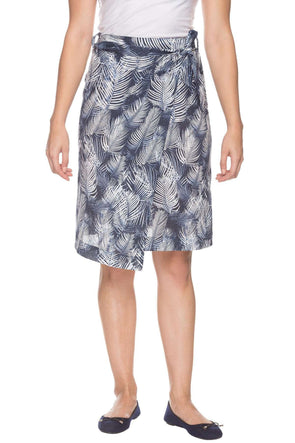 Women Blue Regular Fit Printed Cottonflax Skirt Cottonworld Women's Skirts