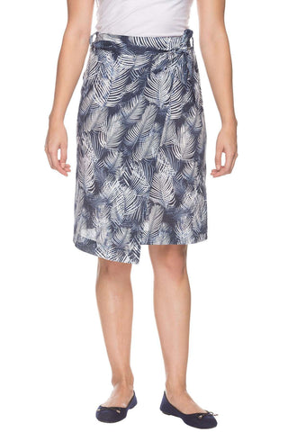 Cottonworld Women's Skirts Women Blue Regular Fit Printed Cottonflax Skirt