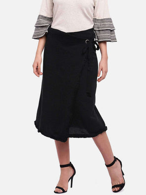 Women's 90% Cotton 10% Elastane Black Straight Fit Kskirt Cottonworld Women's Skirts