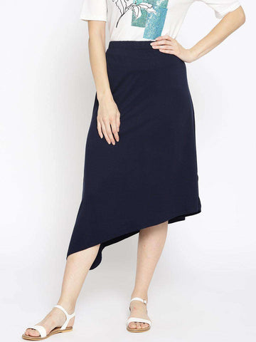 Cottonworld Women's Skirts WOMEN'S 95% VISCOSE 5% ELASTANE NAVY Tapered Fit KSKIRT