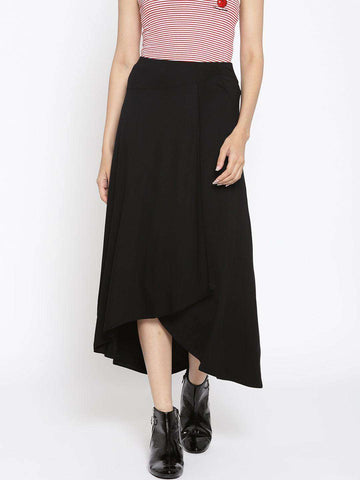 Cottonworld Women's Skirts WOMEN'S 96% VISCOSE 4% ELASTANE BLACK REGULAR FIT SKIRT