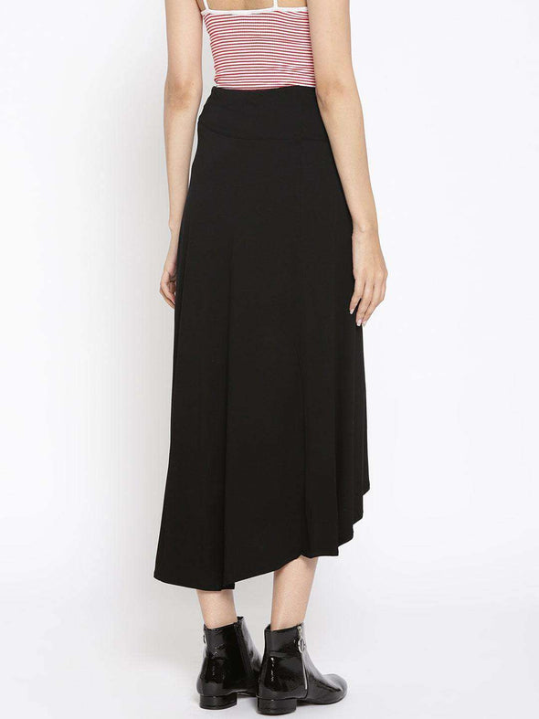 Women's Viscose Elastane Black Regular Fit Skirt Cottonworld Women's Skirts