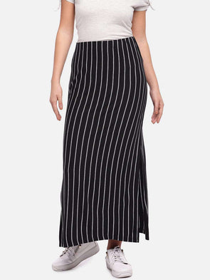 Women's Viscose Elastane Black/White Skirt Cottonworld Women's Skirts