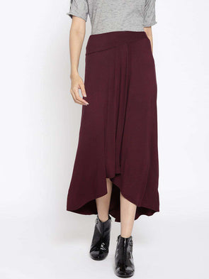 Women's Viscose Elastane Wine Regular Fit Skirt Cottonworld Women's Skirts