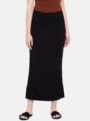 Cottonworld Women's Skirts Women's Viscose Elastane Black Skirt