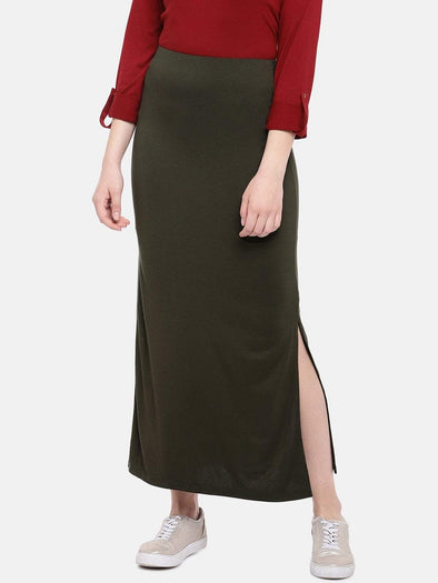 Women's Viscose Elastane Olive Skirt Cottonworld Women's Skirts