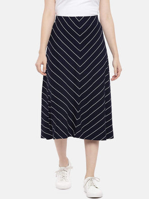 Cottonworld Women's Skirts Women's Viscose Elastane Polyster Navy White Regular Fit Kskirt