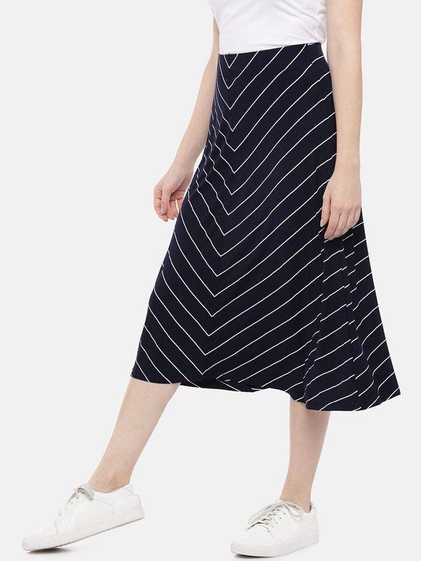 Women's Viscose Elastane Polyster Navy White Regular Fit Kskirt Cottonworld Women's Skirts