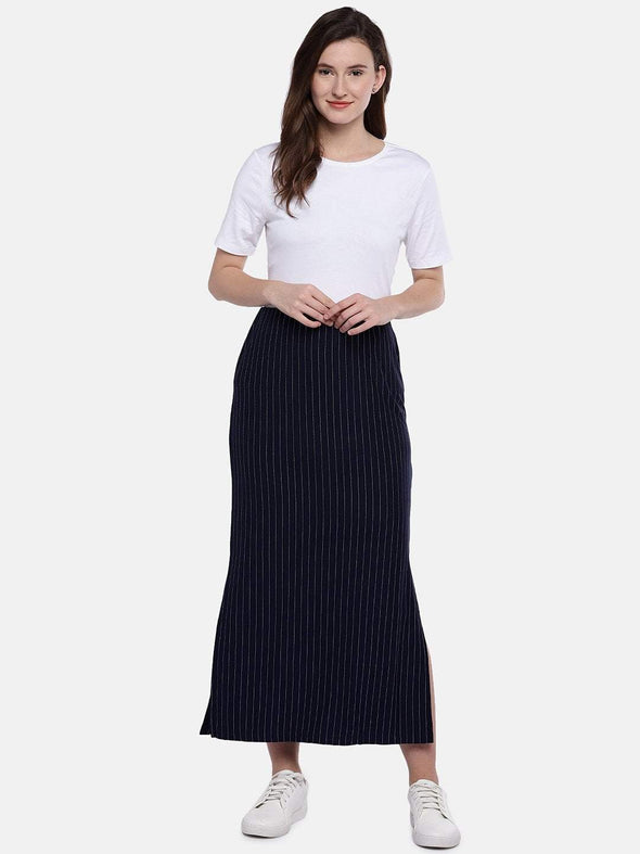 Women's Viscose Polyster 5% Elastane Navy and White Skirt Cottonworld Women's Skirts
