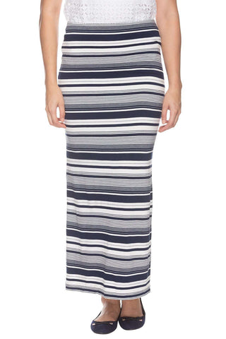 Cottonworld Women's Skirts WOMENS 95% VISCOSE 5% ELASTANE STRIPED NAVY SKIRT