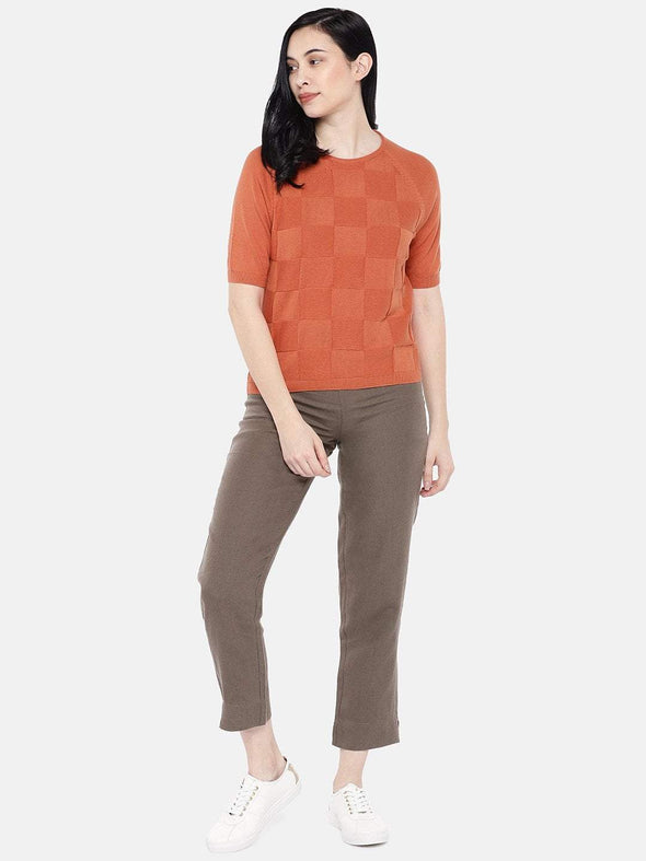 Women's Cotton Rust Regular Fit Sweat Cottonworld Women's Sweater