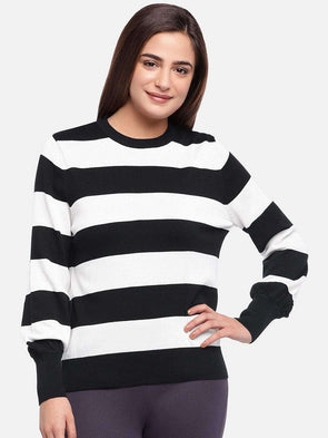 Cottonworld Women's Sweaters WOMEN'S 100% COTTON BLACK/WHIT REGULAR FIT SWEAT