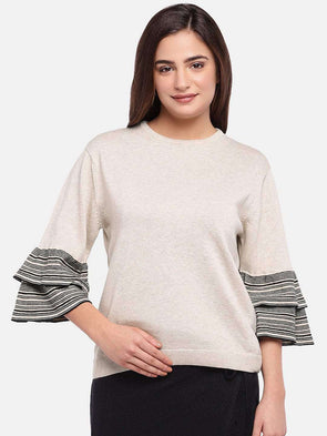 Cottonworld Women's Sweaters WOMEN'S 100% COTTON SAND MELAN REGULAR FIT SWEAT