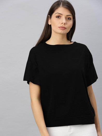 Cottonworld Women's T-shirts Women's Cotton Black Regular Fit Tshirt