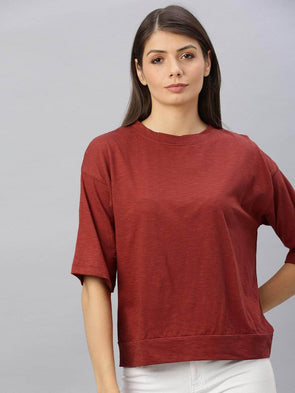Cottonworld Women's T-shirts Women's Cotton Brick Regular Fit Tshirt