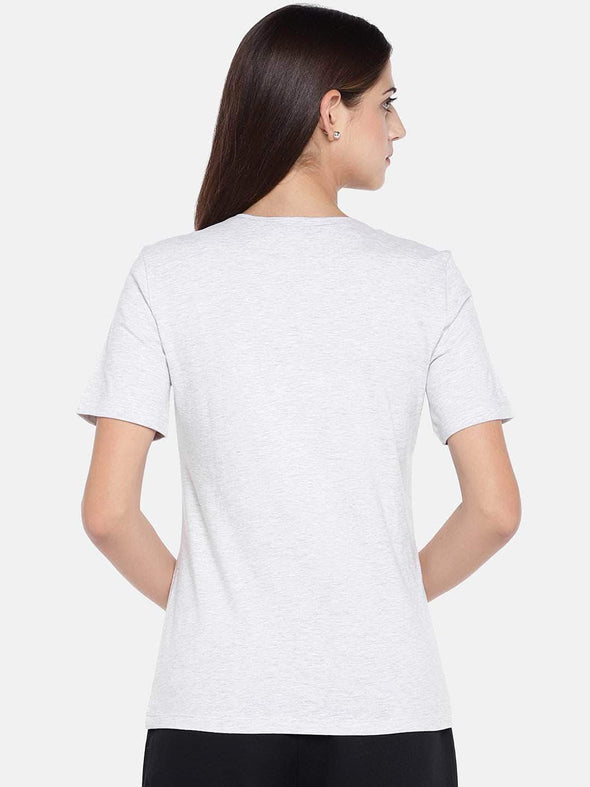 Women's Cotton Ecru Melan Regular Fit Tshirt Cottonworld Women's T-shirts