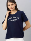 Cottonworld Women's T-shirts Women's Cotton Navy Regular Fit Tshirt