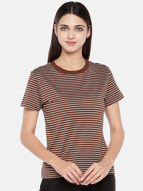 Women's Viscose Elastane Brown Regular Fit Tshirt Cottonworld Women's T-shirts