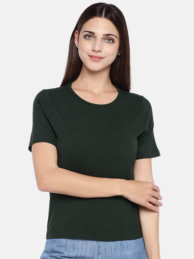 Women's Viscose Elastane Green Regular Fit Tshirt Cottonworld Women's Tshirts