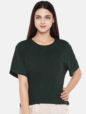 Women's Viscose Elastane Green Regular Fit Tshirt Cottonworld Women's T-shirts